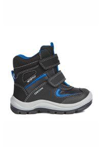 Czarne buty zimowe Geox na rzepy, na zimę, z cholewką