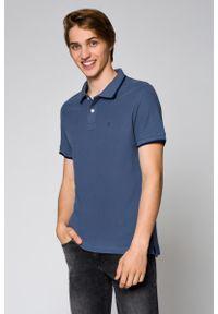 Szara koszulka polo Lancerto klasyczna, w kolorowe wzory