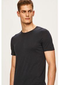 Armani Exchange - T-shirt. Okazja: na co dzień. Kolor: niebieski. Materiał: dzianina. Wzór: gładki. Styl: casual