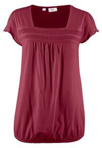 Fioletowa bluzka bonprix krótka, w koronkowe wzory, z krótkim rękawem