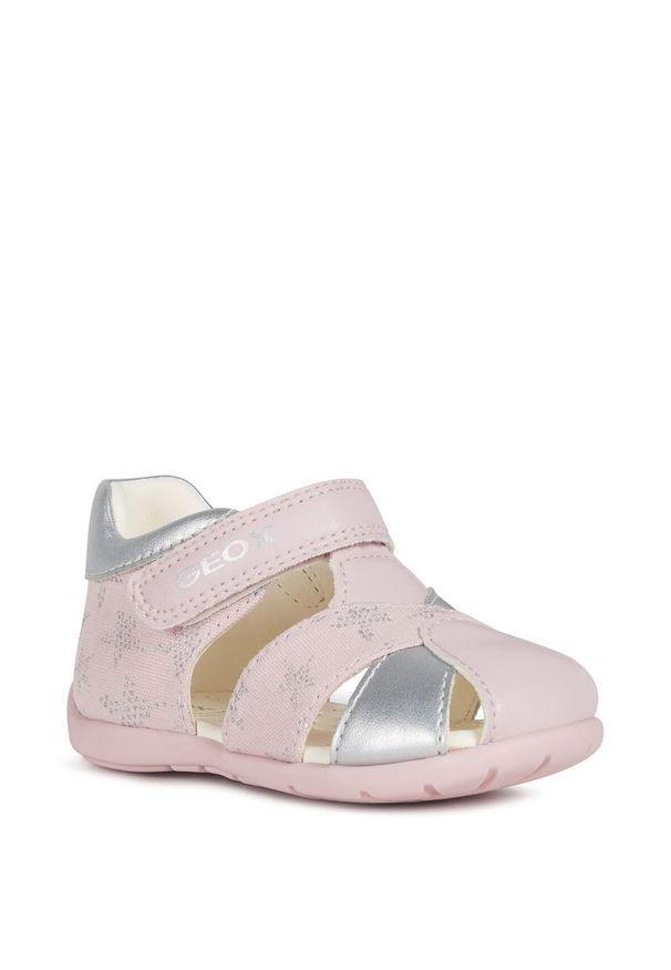 Różowe sandały Geox na rzepy