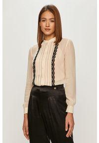 Kremowa koszula TwinSet na co dzień, długa, ze stójką, elegancka