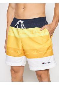 Champion Szorty kąpielowe Colour Block Panelled Script Logo Print 216060 Żółty Board Fit. Kolor: żółty. Wzór: nadruk