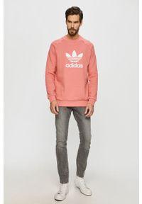 Różowa bluza adidas Originals casualowa, z nadrukiem, na co dzień, bez kaptura