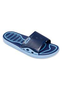 LANO - Klapki męskie basenowe Lano KL-4-6168-D2 Niebieskie. Okazja: na plażę. Zapięcie: bez zapięcia. Kolor: niebieski. Materiał: guma. Obcas: na obcasie. Wysokość obcasa: niski. Sport: pływanie