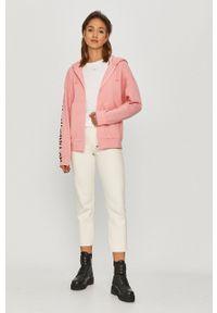 Pinko - Bluza bawełniana. Okazja: na co dzień. Typ kołnierza: kaptur. Kolor: różowy. Materiał: bawełna. Wzór: nadruk. Styl: casual