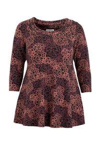 Czerwony sweter Zhenzi długi, w kolorowe wzory, z długim rękawem, elegancki