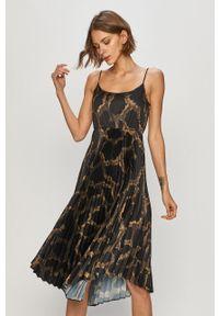 Czarna sukienka AllSaints z długim rękawem, casualowa, na co dzień