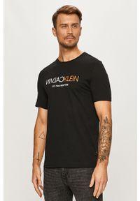 Czarny t-shirt Calvin Klein na co dzień, z nadrukiem, casualowy