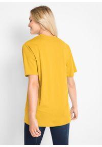 Długi shirt z dekoltem w szpic (5 sztuk), krótki rękaw bonprix żółty kanarkowy + kremowy miętowy + morelowy + czarny + biały. Kolor: żółty. Długość rękawa: krótki rękaw. Długość: krótkie #3