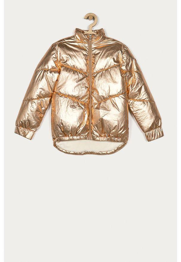 Złota kurtka Guess Jeans na co dzień, casualowa, bez kaptura, długa