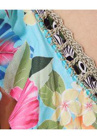 DEL MAAR - Top od bikini Munara. Kolor: niebieski. Materiał: jeans. Wzór: kwiaty, kolorowy, aplikacja