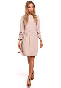 Beżowa sukienka rozkloszowana MOE