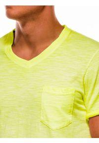 Ombre Clothing - T-shirt męski bez nadruku S1053 - żółty - XXL. Kolor: żółty. Materiał: bawełna