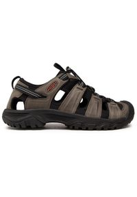 keen - Sandały KEEN - Targhee III Sandal 1022428 Grey/Black. Kolor: szary. Materiał: skóra, nubuk, materiał. Sezon: lato. Sport: turystyka piesza