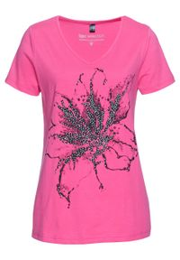 Shirt, krótki rękaw bonprix różowy z nadrukiem. Kolor: różowy. Długość rękawa: krótki rękaw. Długość: krótkie. Wzór: nadruk. Styl: elegancki
