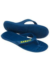 NABAIJI - Japonki Basenowe Męskie Nabaiji Tonga 100 Basic. Kolor: niebieski, żółty, wielokolorowy. Materiał: materiał