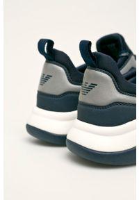 Niebieskie sneakersy EA7 Emporio Armani na sznurówki, z cholewką
