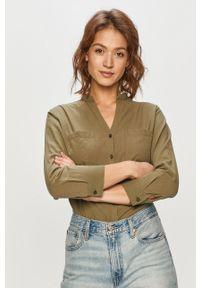 Oliwkowa koszula Cross Jeans gładkie, casualowa