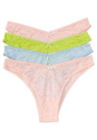 """Figi tanga """"Miami"""" (4 pary) bonprix perłowy jasnoróżowy + mglisty niebieski + zielone jabłko. Kolor: różowy. Materiał: koronka. Wzór: koronka"""