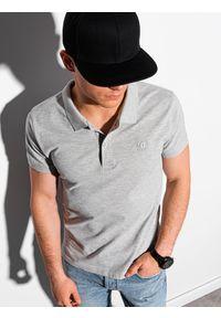 Szara koszulka polo Ombre Clothing polo, z haftami, klasyczna