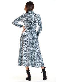 Awama - Sukienka maxi o koszulowej górze i trapezowym dole. Okazja: do pracy. Typ sukienki: koszulowe, trapezowe. Długość: maxi