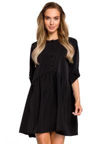 MOE - Sukienka tunika oversize z podpinanymi rękawami. Materiał: materiał, elastan. Typ sukienki: oversize