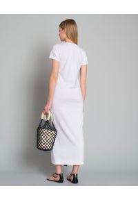 CESARE PACIOTTI - Sukienka z logo marki. Okazja: na co dzień. Kolor: biały. Materiał: materiał. Typ sukienki: proste, sportowe. Styl: elegancki, sportowy, casual. Długość: maxi