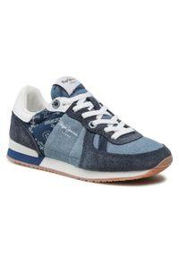 Pepe Jeans - Sneakersy PEPE JEANS - Sydney Print Boys PBS30350 Dk Denim 559. Kolor: niebieski. Materiał: zamsz, materiał. Szerokość cholewki: normalna. Wzór: nadruk