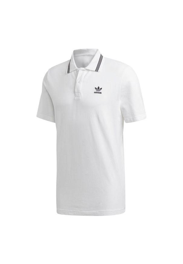 Biała koszulka sportowa Adidas polo, w kolorowe wzory