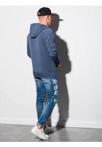 Ombre Clothing - Bluza męska rozpinana z kapturem B1157 - niebieska - XXL. Typ kołnierza: kaptur. Kolor: niebieski. Materiał: bawełna, poliester