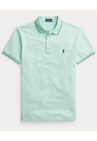 Ralph Lauren - RALPH LAUREN - Zielona koszulka Slim Fit Stretch Birdseye. Okazja: na co dzień. Typ kołnierza: polo. Kolor: zielony. Materiał: bawełna, prążkowany. Wzór: haft. Styl: casual