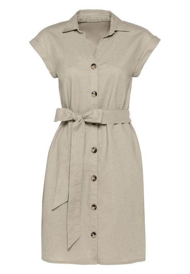 Sukienka lniana bonprix beżowy. Kolor: beżowy. Materiał: len