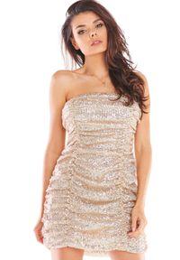 Beżowa sukienka Awama z gorsetem, gorsetowa