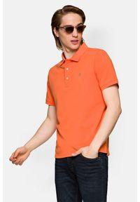 Lancerto - Koszulka Ciemnopomarańczowa Polo Patrick. Typ kołnierza: polo. Kolor: pomarańczowy. Materiał: włókno, tkanina, materiał, bawełna. Wzór: ze splotem, gładki. Styl: klasyczny