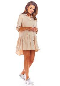 Awama - Beżowa Luźna Koszulowa Sukienka z Falbanką. Kolor: beżowy. Materiał: wiskoza, elastan. Typ sukienki: koszulowe