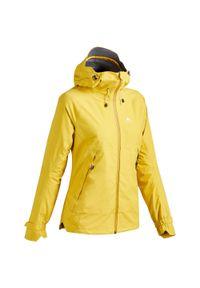 quechua - Kurtka turystyczna damska Quechua MH500 wodoodporna. Kolor: pomarańczowy. Materiał: tkanina, materiał, elastan. Sport: wspinaczka