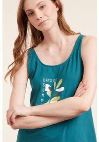 Etam - Top piżamowy Enoa. Kolor: zielony. Materiał: bawełna. Wzór: nadruk