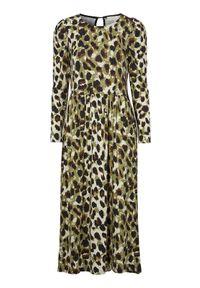 Freequent Sukienka Prue khaki we wzory female zielony/ze wzorem S (38). Kolor: zielony. Materiał: jersey. Długość rękawa: długi rękaw. Wzór: motyw zwierzęcy. Styl: elegancki