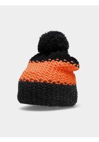 4f - Czapka zimowa z opaską polarową chłopięca. Kolor: pomarańczowy. Materiał: polar. Sezon: zima