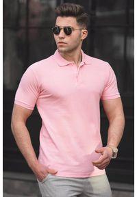 Różowy t-shirt IVET polo, casualowy #1