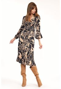 Nife - Midi Sukienka we Wzór Safari. Materiał: elastan. Długość: midi