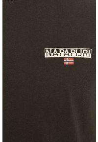Czarny t-shirt Napapijri gładki, casualowy