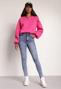 Renee - Niebieskie Jeansy Skinny Ameva. Stan: podwyższony. Kolor: niebieski. Długość: długie. Wzór: aplikacja