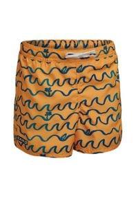 OLAIAN - Spodenki Surfing Bs 100 Origami Dla Dzieci. Kolor: pomarańczowy, żółty, wielokolorowy. Materiał: poliester, materiał. Długość: krótkie