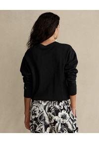 Ralph Lauren - RALPH LAUREN - Czarna bluza z nadrukiem Relaxed fit. Typ kołnierza: polo. Kolor: czarny. Materiał: materiał. Długość rękawa: długi rękaw. Długość: długie. Wzór: nadruk