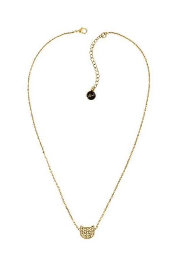 Złoty naszyjnik Karl Lagerfeld metalowy, z kryształem