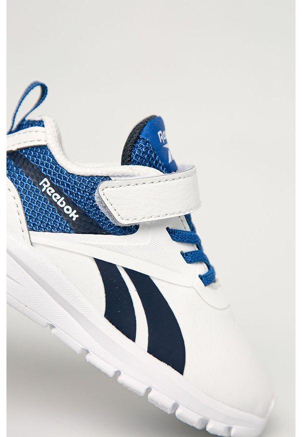 Białe buty sportowe Reebok z cholewką, na rzepy, z okrągłym noskiem