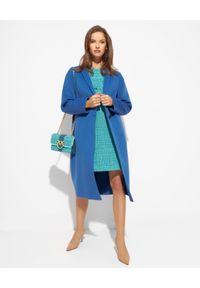 EMMA & GAIA - Niebieski wełniany płaszcz. Kolor: niebieski. Materiał: wełna. Styl: klasyczny