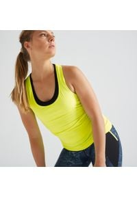 DOMYOS - Top fitness MY TOP. Kolor: żółty. Materiał: elastan, poliester, materiał. Sport: fitness